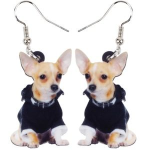 Chihuahua in Black Jacket Acrylic Earrings